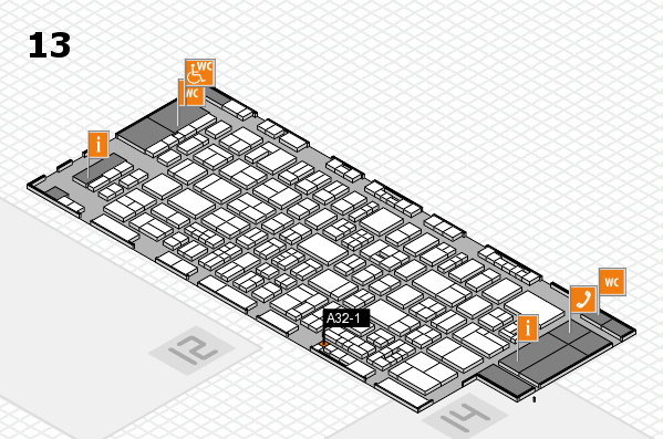 drupa 2016 hall map (Hall 13): stand A32-1