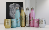 Mit Lasergravur personalisierte Flaschen und Becher