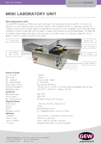 Mini Laboratory Unit Datasheet DS1030