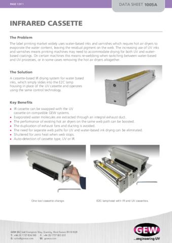 Infrared Cassette Data Sheet 1005A