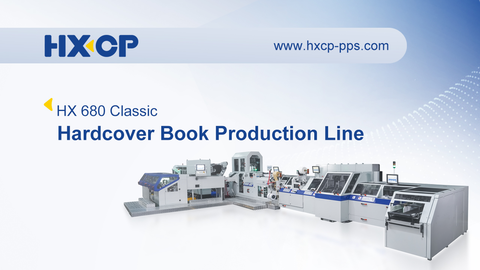 HX Classic 680 Hardcover Book Production Line is the first high-speed hardcover book production line in China, with the intelligent human-machinery touch-screen control panel, book block is rounded in the rounding station with rollers, then the book block joint area is laterally backed in the backing station by backing jaws A forming iron gives the book spine its desired form and width. In the correction station, the book block is raised to throughfeed height and aligned to the back cut. Spine gluing with hot glue, gauzing, backlining and headbanding takes place during the timed transport. A rub down station (Teflon band) with an additionally integrated foam rubber rub-down element, adapted to the book radius, presses the backlining material onto the full surface of the block spine. For casing in, the book block is pushed onto the splitter sword and taken over by the transport wings of a paternoster system. Subsequently, joint and endsheet are glued on both book block sides. The glued book block is guided into the aligned book case by means of the transport wings. Book block and case are pressed together in the book clamp. Then the cased in book is conveyed from the paternoster to the delivery. With the optional hardcover book interleaving piler, hardcover book can be counted and interleaving stacking, then by the manipulator, palletizing the book stack automatically.